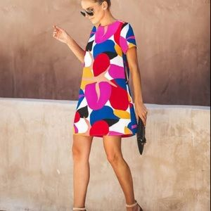Vici multi color summer mini shift dress